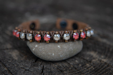 Brown leather coral/lt.tan crystal stone snap closure bracelet by LaHola