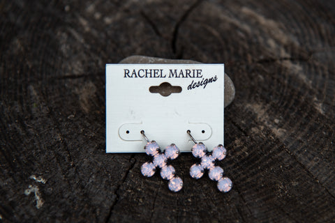 Adrianna Cross Earring Rose Water Opal by Rachel Marie Designs