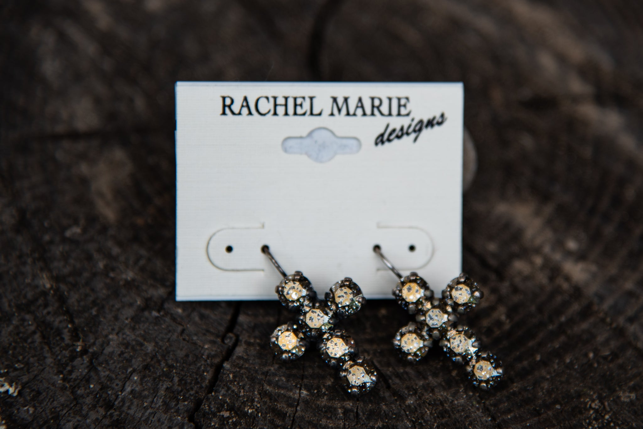 Adrianna Cross Earring Black Patina by Rachel Marie Designs
