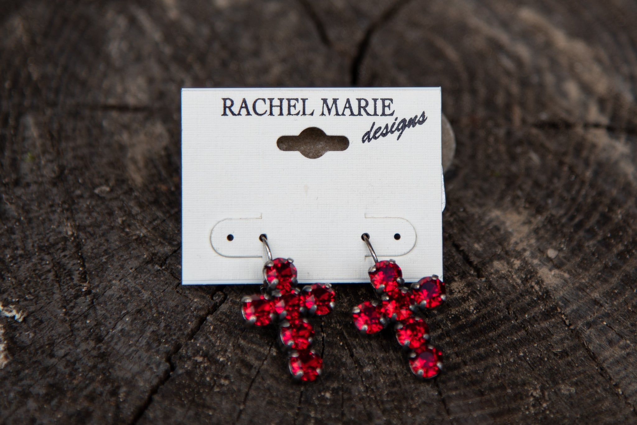 Adrianna Cross Earring Siam by Rachel Marie Designs