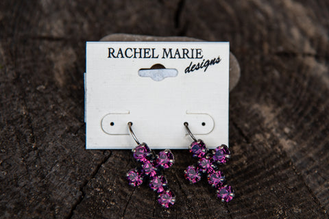 Adrianna Cross Earring Amethyst by Rachel Marie Designs