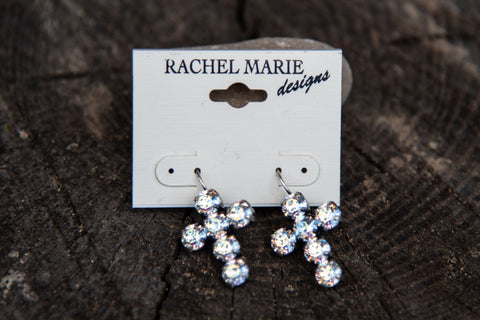 Adrianna Cross Earring White Patina by Rachel Marie Designs