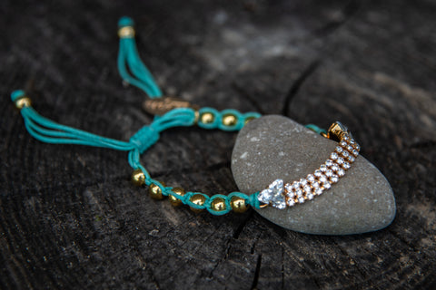 Teal green drawstring gold clear stones bracelet by LaHola