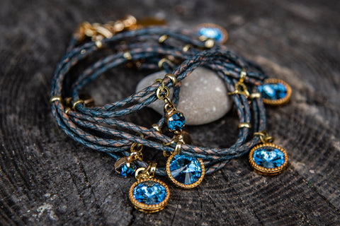 Multi grey leather braided blue/gold hook closure bracelet by LaHola