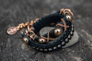 Double wrap black snap clear stones bracelet rose gold  by LaHola