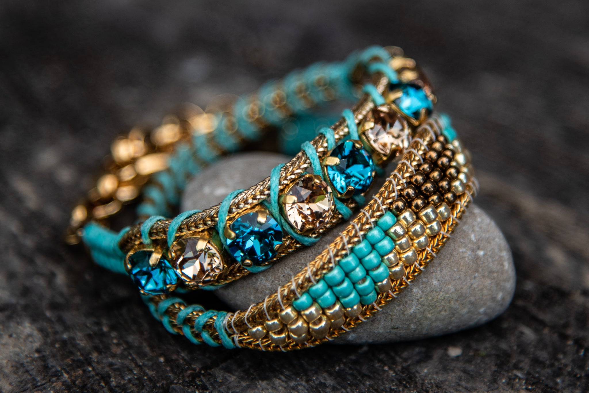B-4053/1 Turquoise golds stones beaded wrap hook closure bracelet by LaHola
