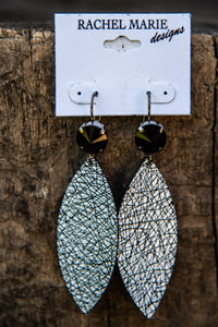 19531 Swarovski & Leather Drop Earring by Rachel Marie Designs