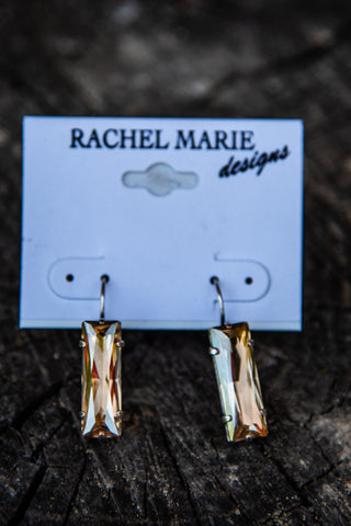 Beth Baguette Golden Shadow Swarovski Drop Earring by Rachel Marie Designs