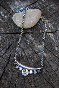 Maggie Bar Swarovski Crystal Silver Ombre Necklace by Rachel Marie Designs