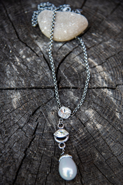Pave Pearl Drop & Swarovski Crystal Long Necklace by Rachel Marie Designs