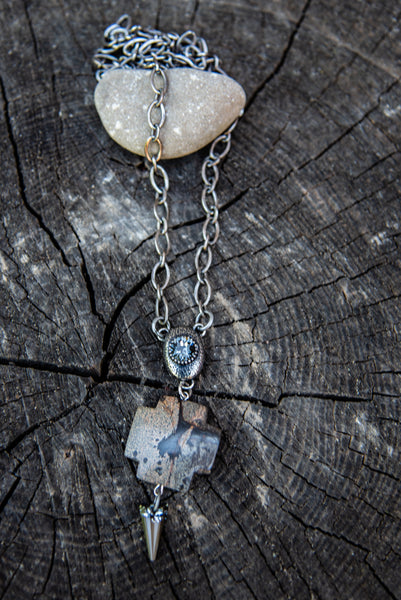 One of a Kind Cross Agate Pendant & Swarovski Crystal Necklace by Rachel Marie Designs