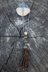 One of a Kind Long Beaded Tassel Necklace by Rachel Marie Designs