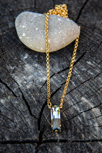 Beth Black Diamond Yellow Gold Necklace by Rachel Marie Designs
