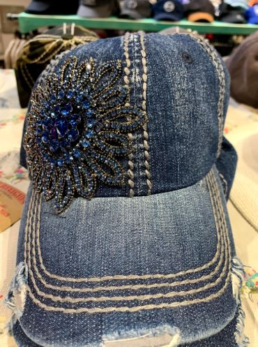 Denim Blue stone flower bling cap