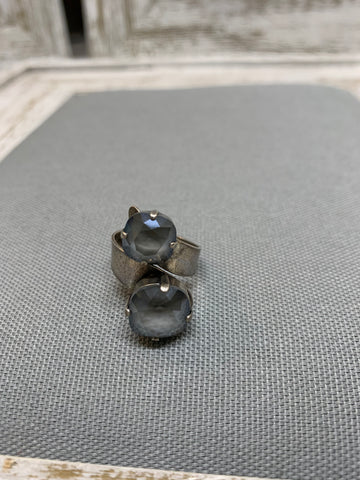 Sandra Wrap Dark Grey Swarovski Crystal Adjustable Ring by Rachel Marie Designs