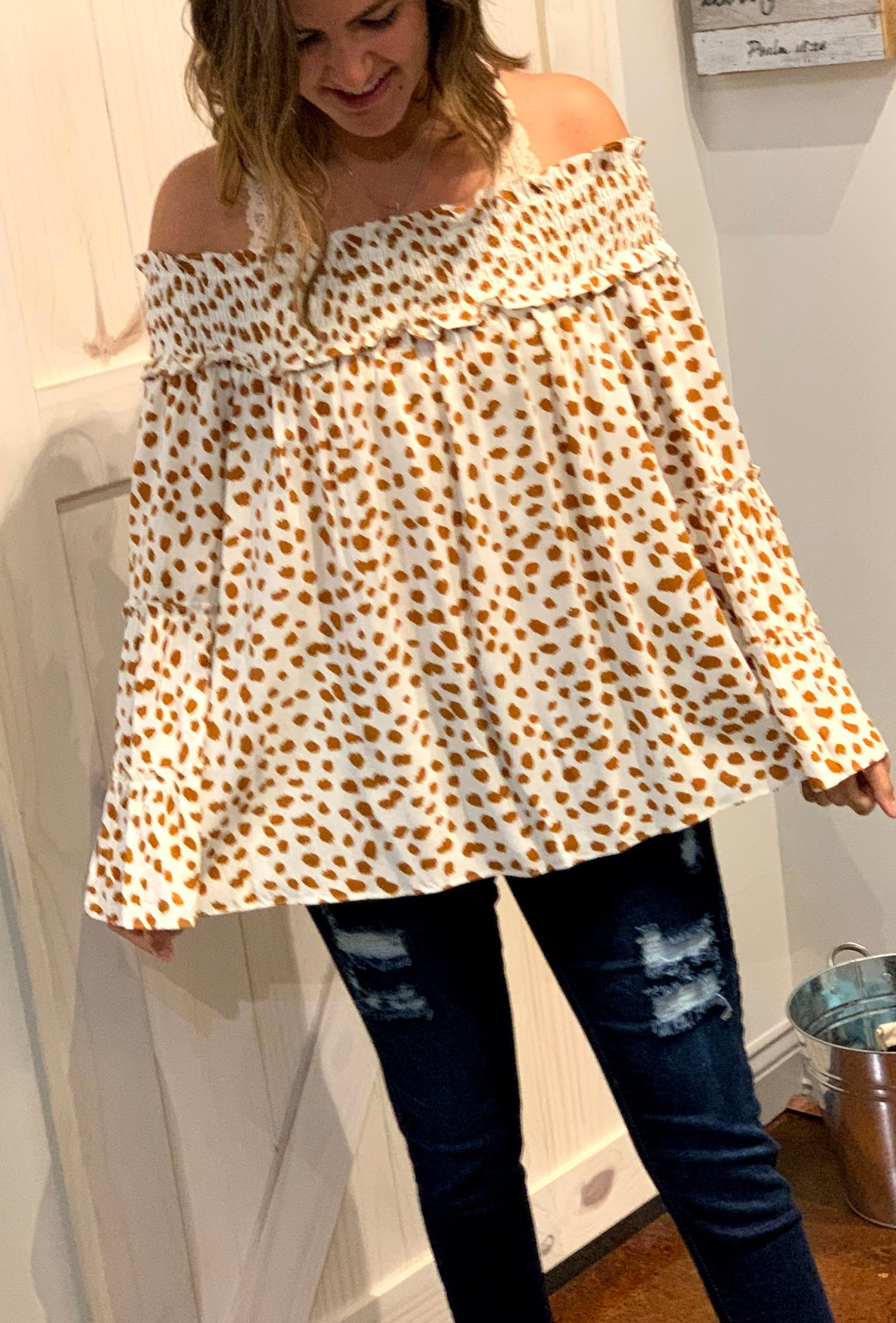 Gold & Cream spotted off shoulder top