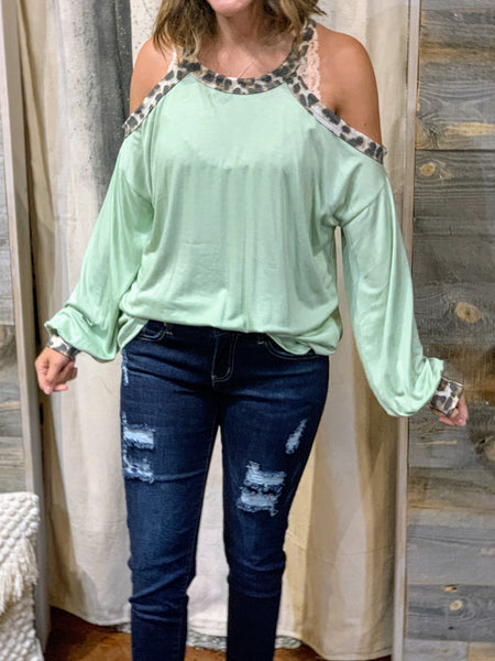 Ivory/Leopard trim cold shoulder top