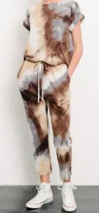 Soft tie dye jogger pant browns/greys