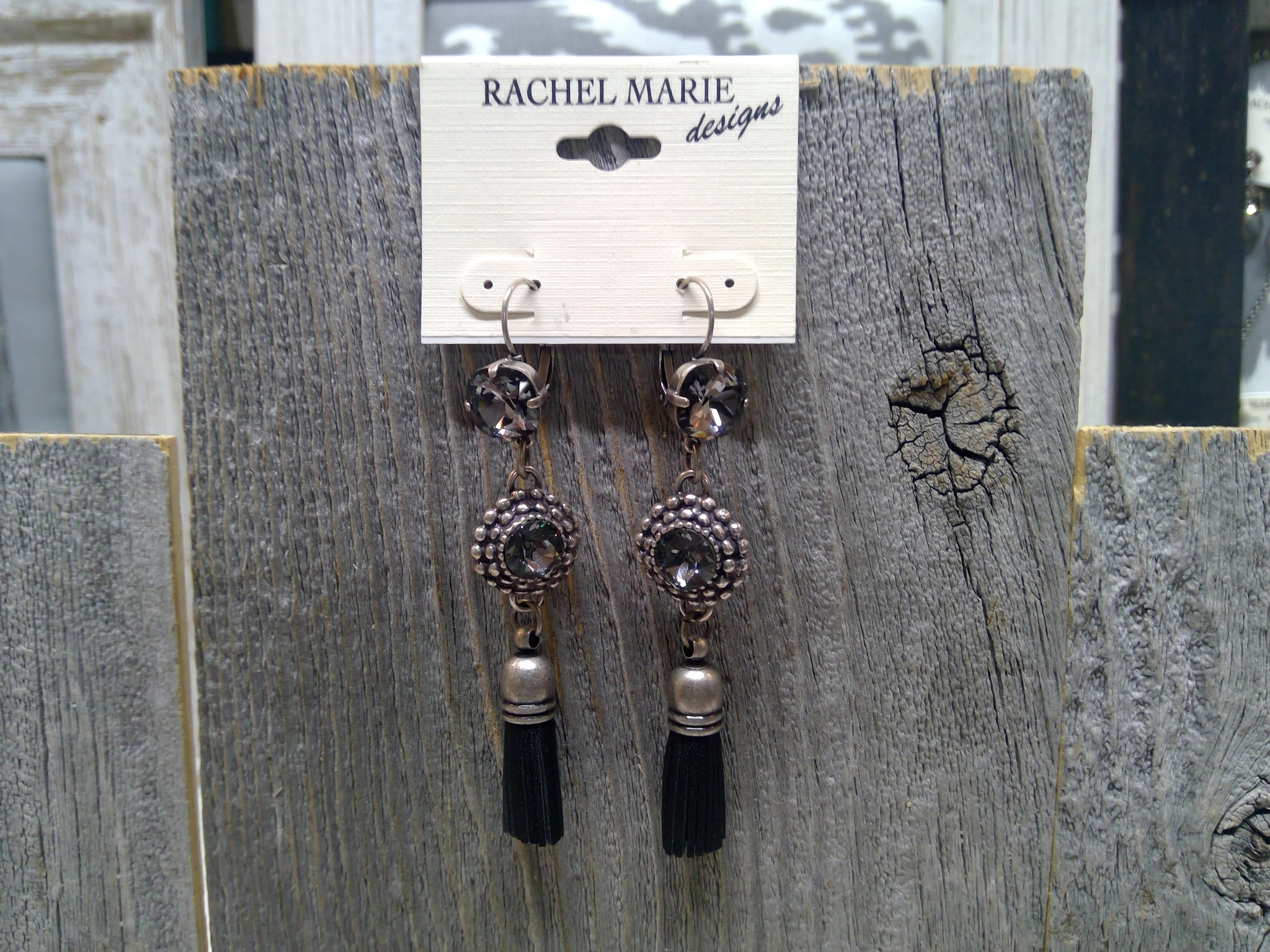 Swarovski & Leather Tassel Drop Earring  by Rachel Marie Designs