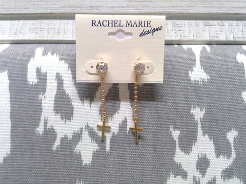 Anna Gold Plated Cross Swarovski Post Earring by Rachel Marie Designs