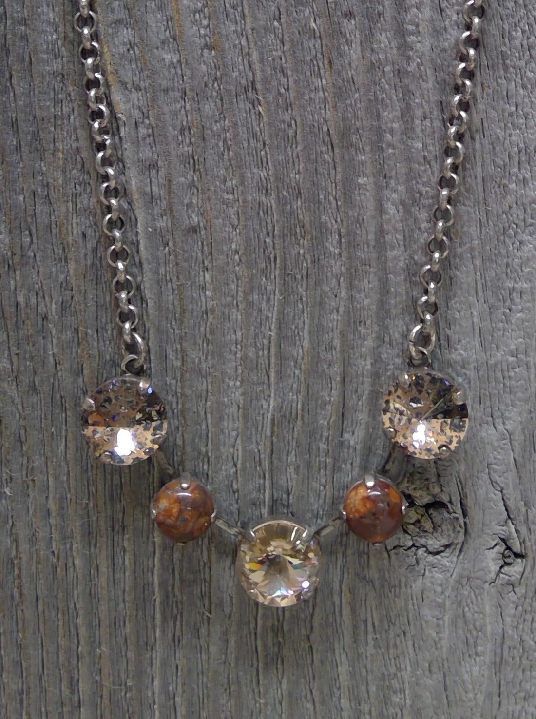 Rustic Road Jasper Collection Swarovski Crystal Necklace by Rachel Marie Designs
