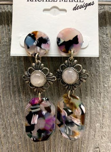 Acrylic & Swarovski Drop Earring by Rachel Marie Designs