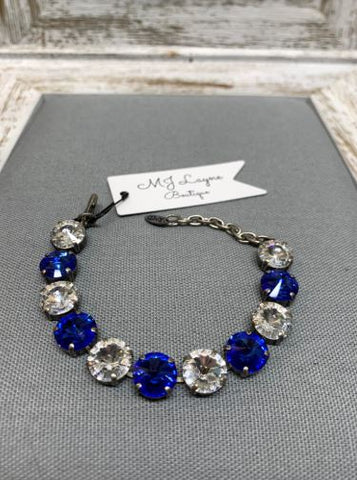 Jaden Bracelet in Custom Sapphire & Clear by Rachel Marie Designs