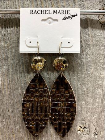 Swarovski & Leather Drop Earring  by Rachel Marie Designs