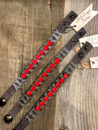 Red/Rose Gold Grey Leather snake skin snap bracelet by LaHola