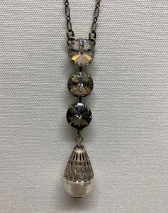 Filigree Pearl Drop & Swarovski Long Necklace by Rachel Marie Designs