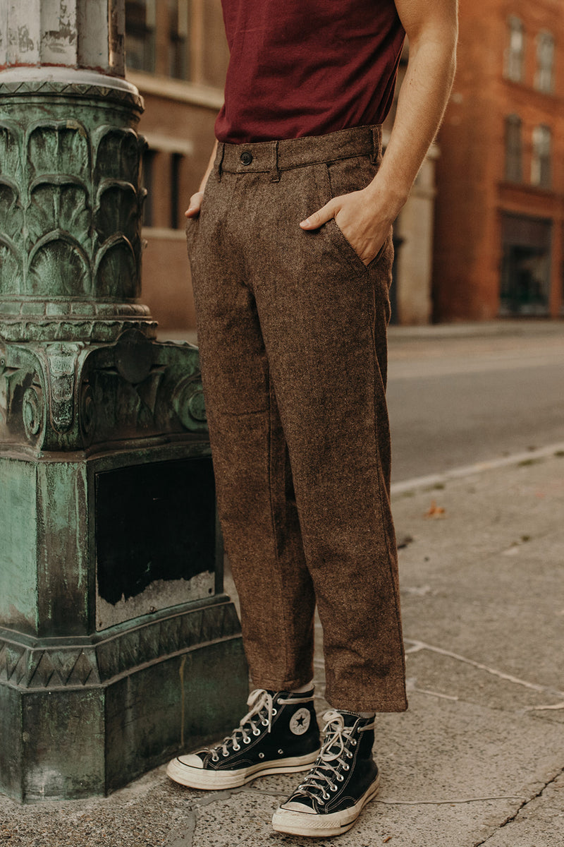 Essential Trouser Pant Heathered Chocolate