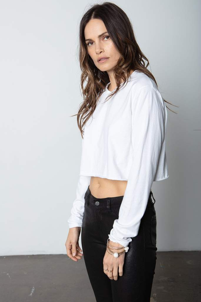 The Boyfriend Crop Longsleeve White