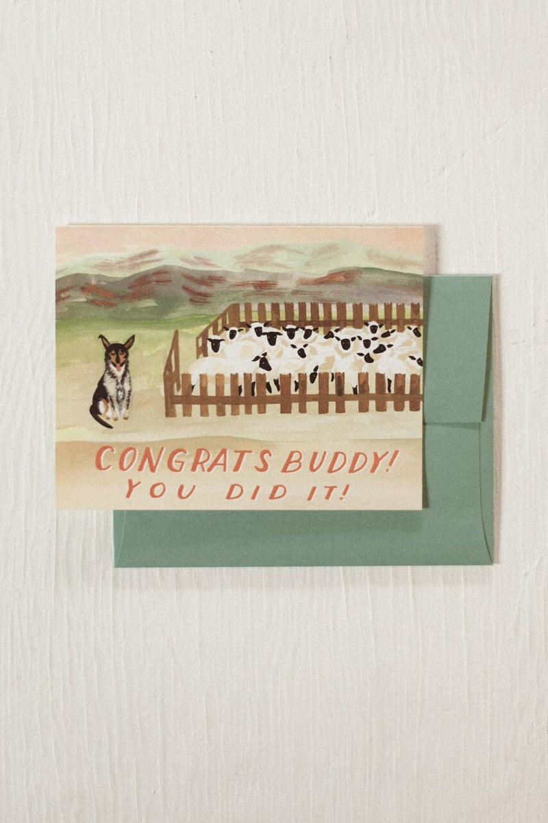 Sheep Dog Congrats Card