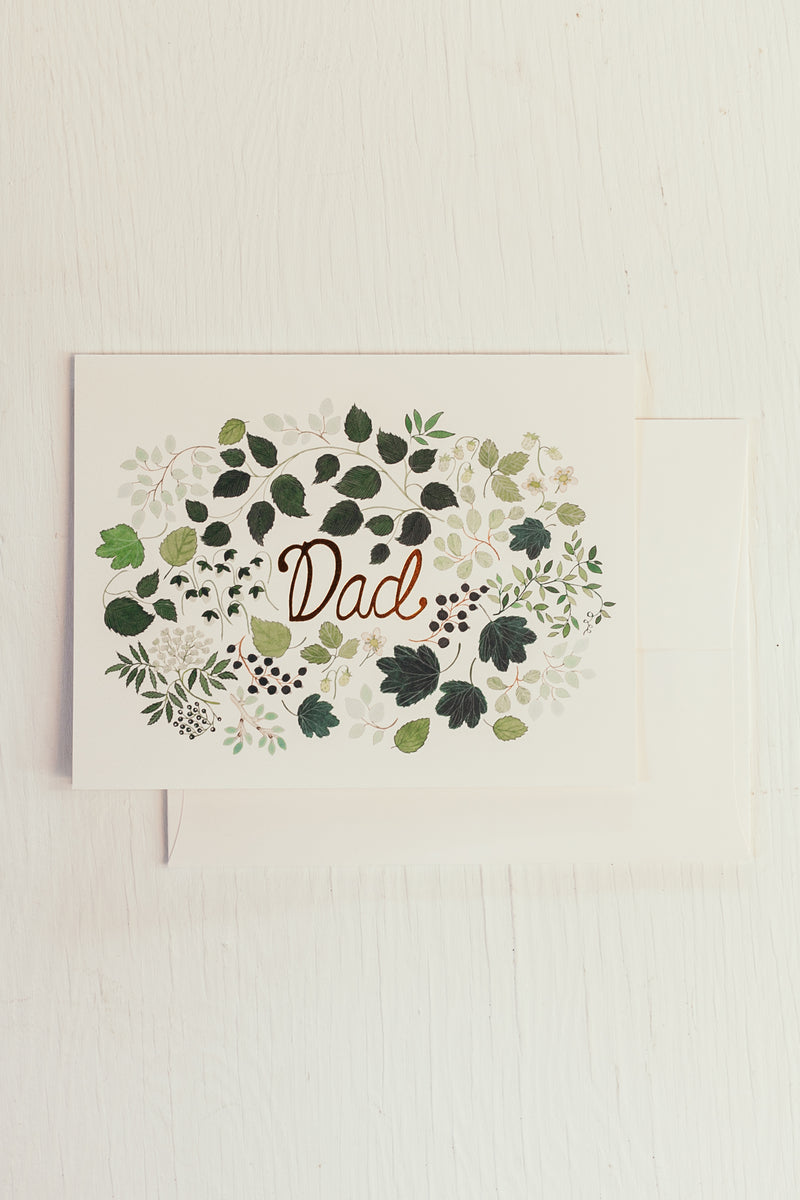 Dad Floral Green Burst Card