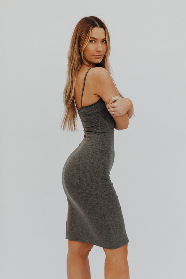 The So Simple Rib Tank Dress Charcoal