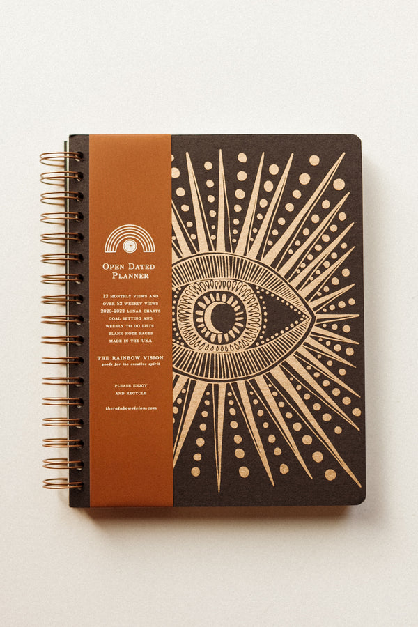 Seeing Eye Open Dated 12 Month Planner Black