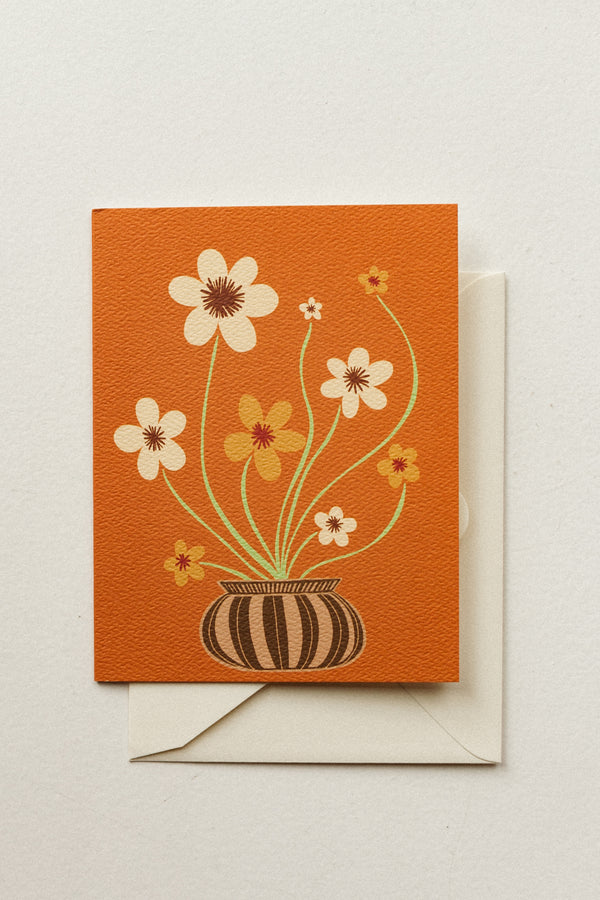 Orange Potted Flowers Card