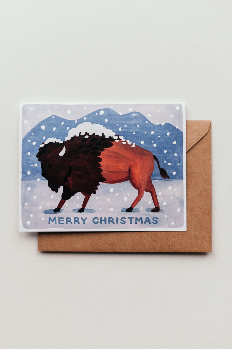 Bison Merry Christmas Card