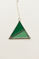 Stained Glass Triangle Ornament Green