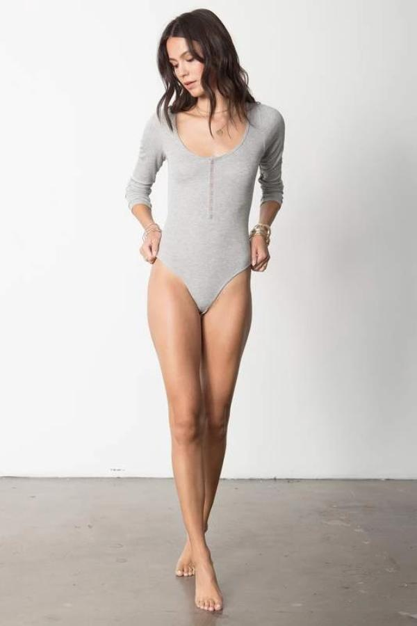 The Snap Front Bodysuit Heather