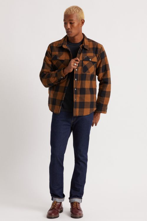 Bowery Lined Long Sleeve Flannel Navy/Copper
