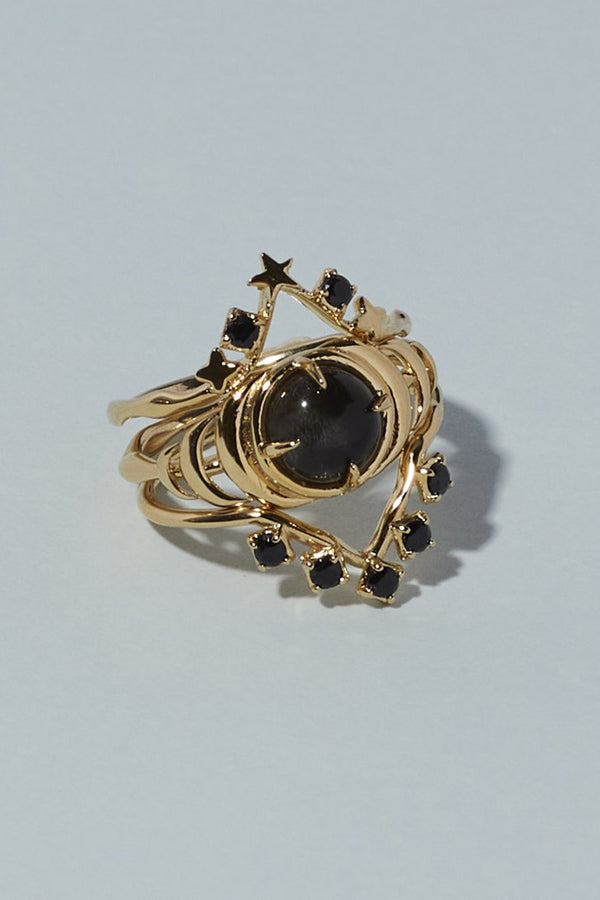 Seven Moons Ring Black Moonstone