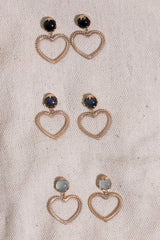 Woven Heart Earrings Labradorite