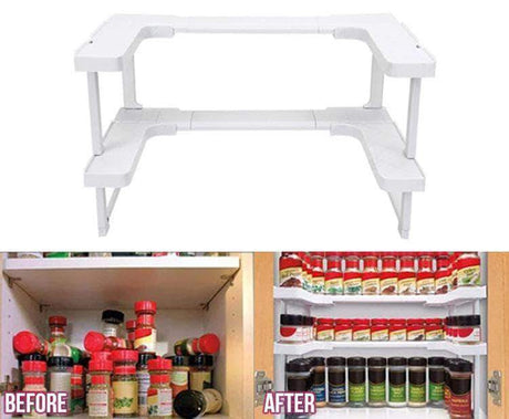 Adjustable Spice Rack Storage Holders & Racks White 14:29