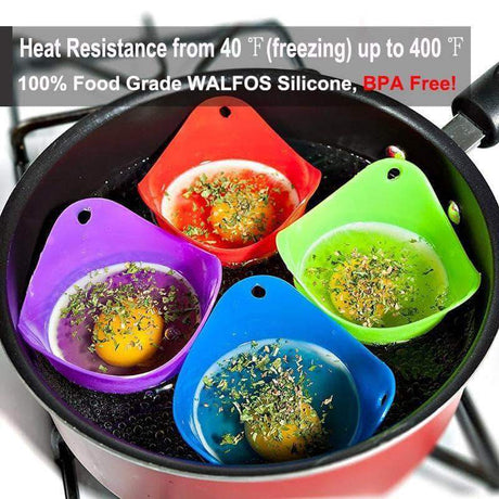 Egg Poacher Floaty - Nontoxic Heat Resisting Top Quality Egg Poacher - 2 Pcs Egg & Pancake Rings