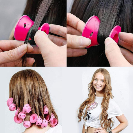 Magic Hair Curlers 10 Pieces Hair Rollers Pink 14:193