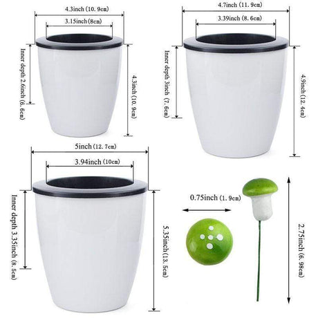 Self Watering Flower Pot Flower Pots & Planters 1 Set of 3 Pots Different Sizes with 10 Pieces Mushrooms
