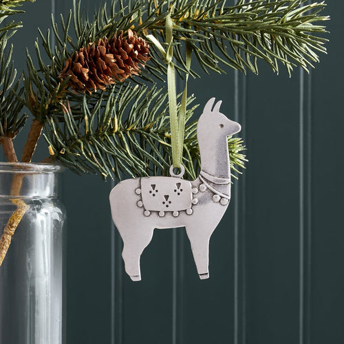 Handmade Pewter Christmas Ornament- Llama