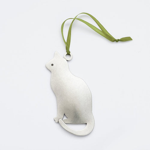 Handmade Pewter Ornament - Cat