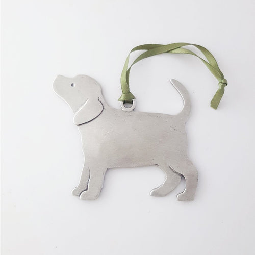 Handmade Pewter Tree Ornament - Puppy
